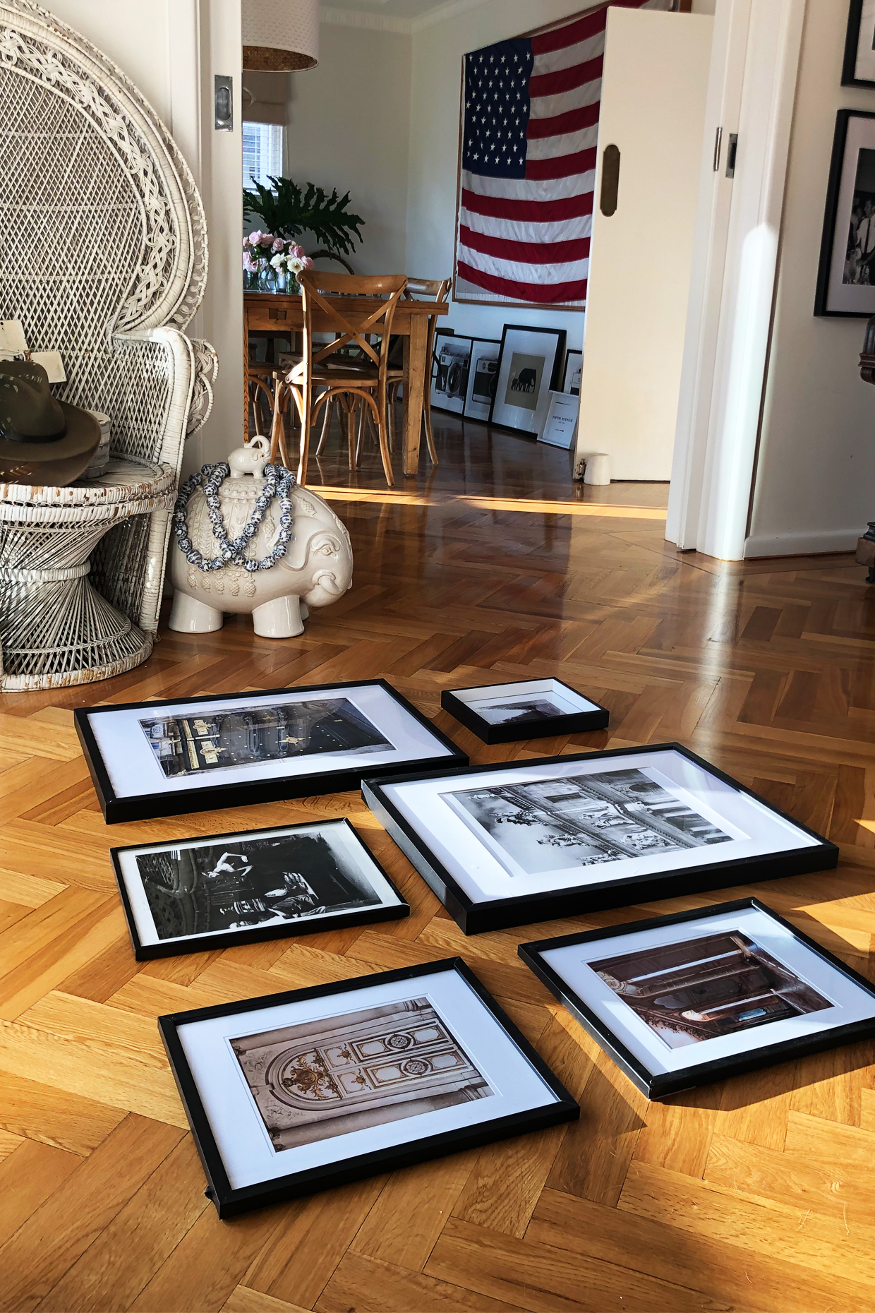 If you're not a stickler for professional-quality images then printing is as easy as a trip to  Office Works.  And frames don't have to cost a fortune either. These black frames are all from  Kmart  - they have no glass just an acetate gel which makes them super light and easy to hang.  My framed photos take me right back to those special Paris moments...now I just need to get around to hanging them.