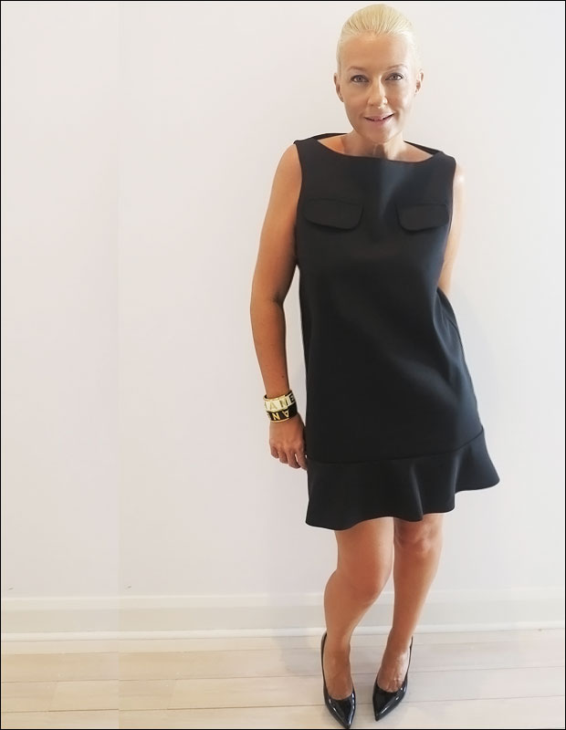 WEARING:  Black wool box shift dress from  Marni,  patent pumps from  Saint Laurent,  vintage cuff from  Chanel.