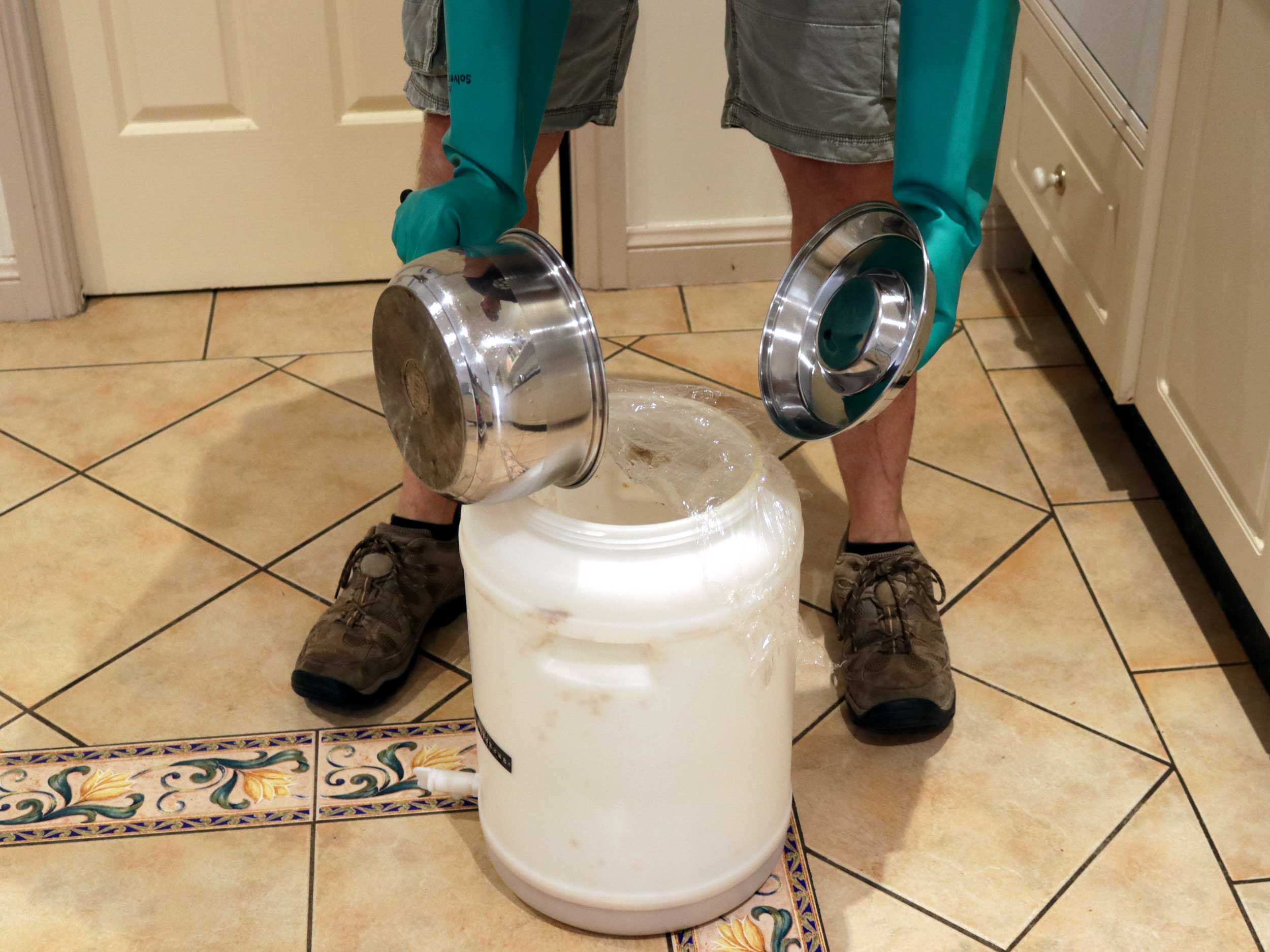 Completely drain your fermenter, turn tap off and pour in your preboiled and chilled water.