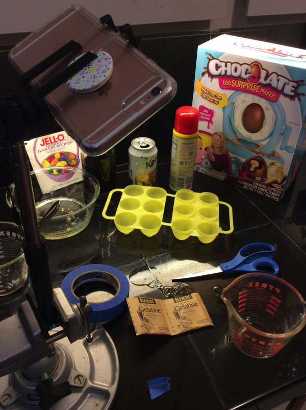Behind the scenes at the Chocolate Surprise Jello Shot Egg video shoot.
