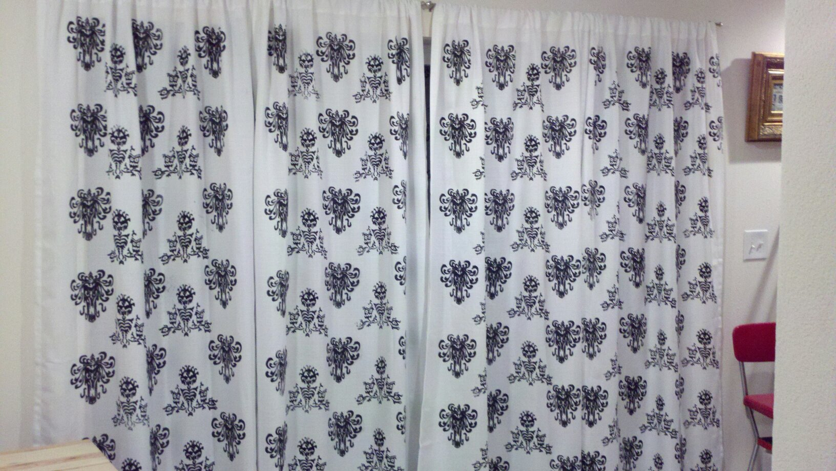 Finished Haunted Mansion Curtains! - Not too shabby, if I say so myself.
