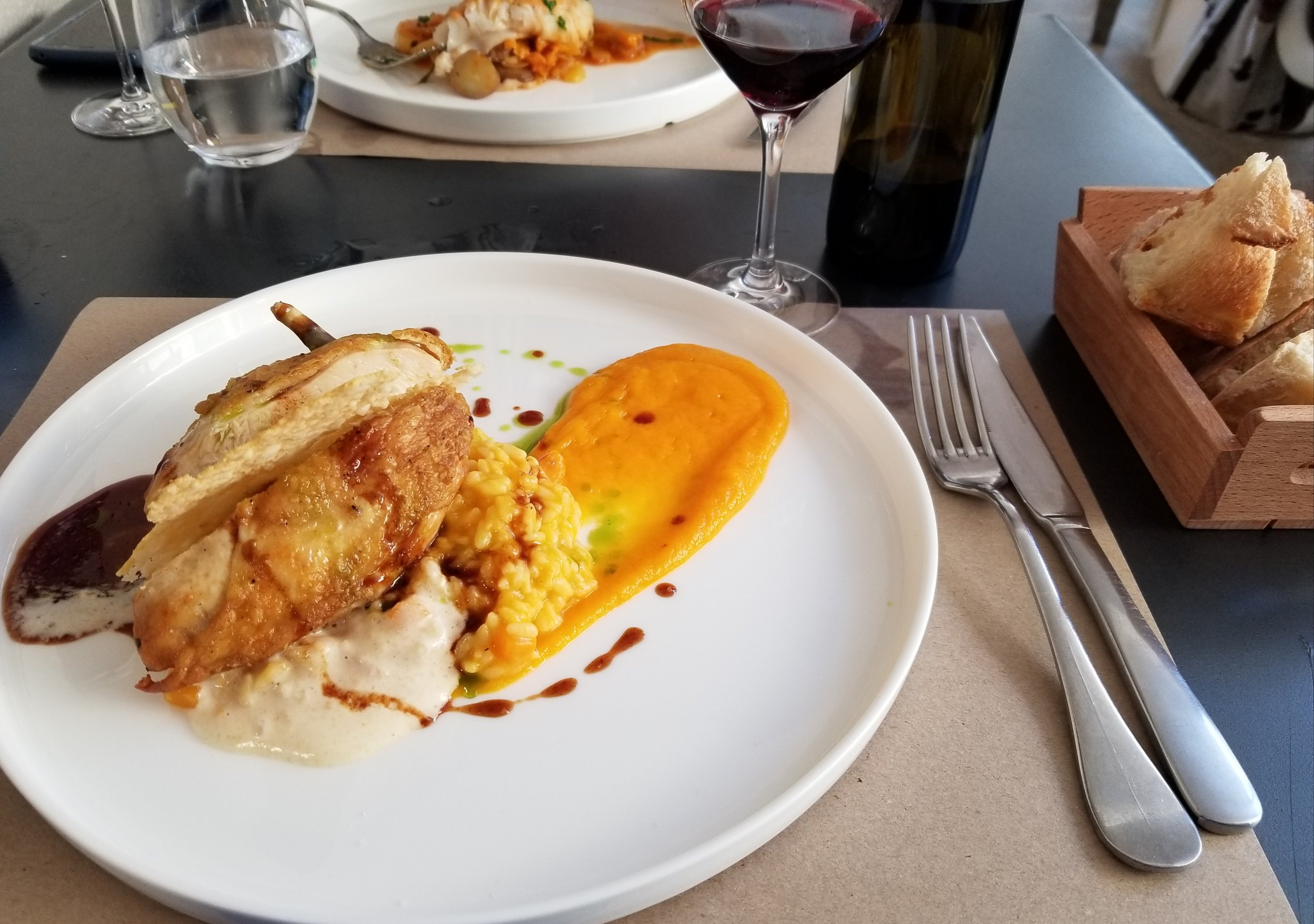 Supreme de Volaille (chicken) with butternut squash risotto and puree of butternut squash