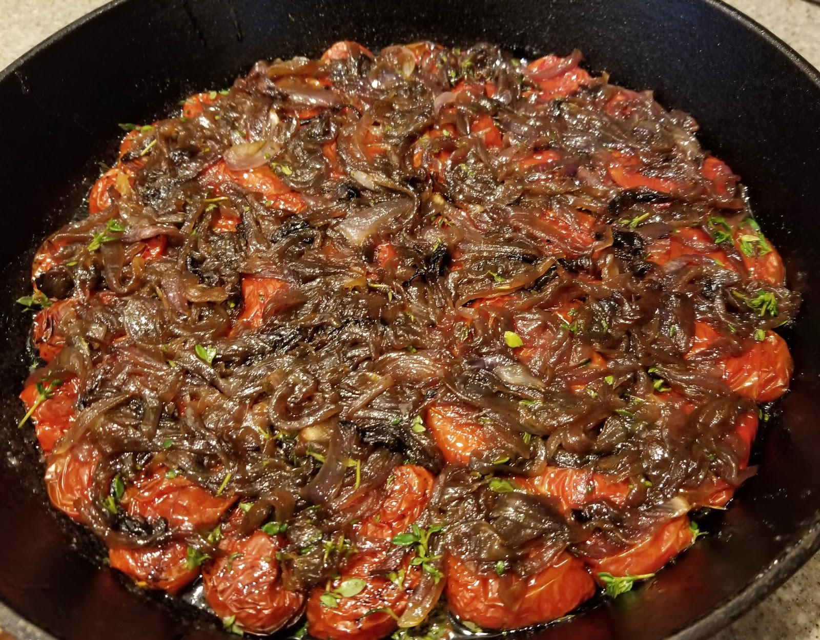 Caramelized red onions over oven roasted tomatoes