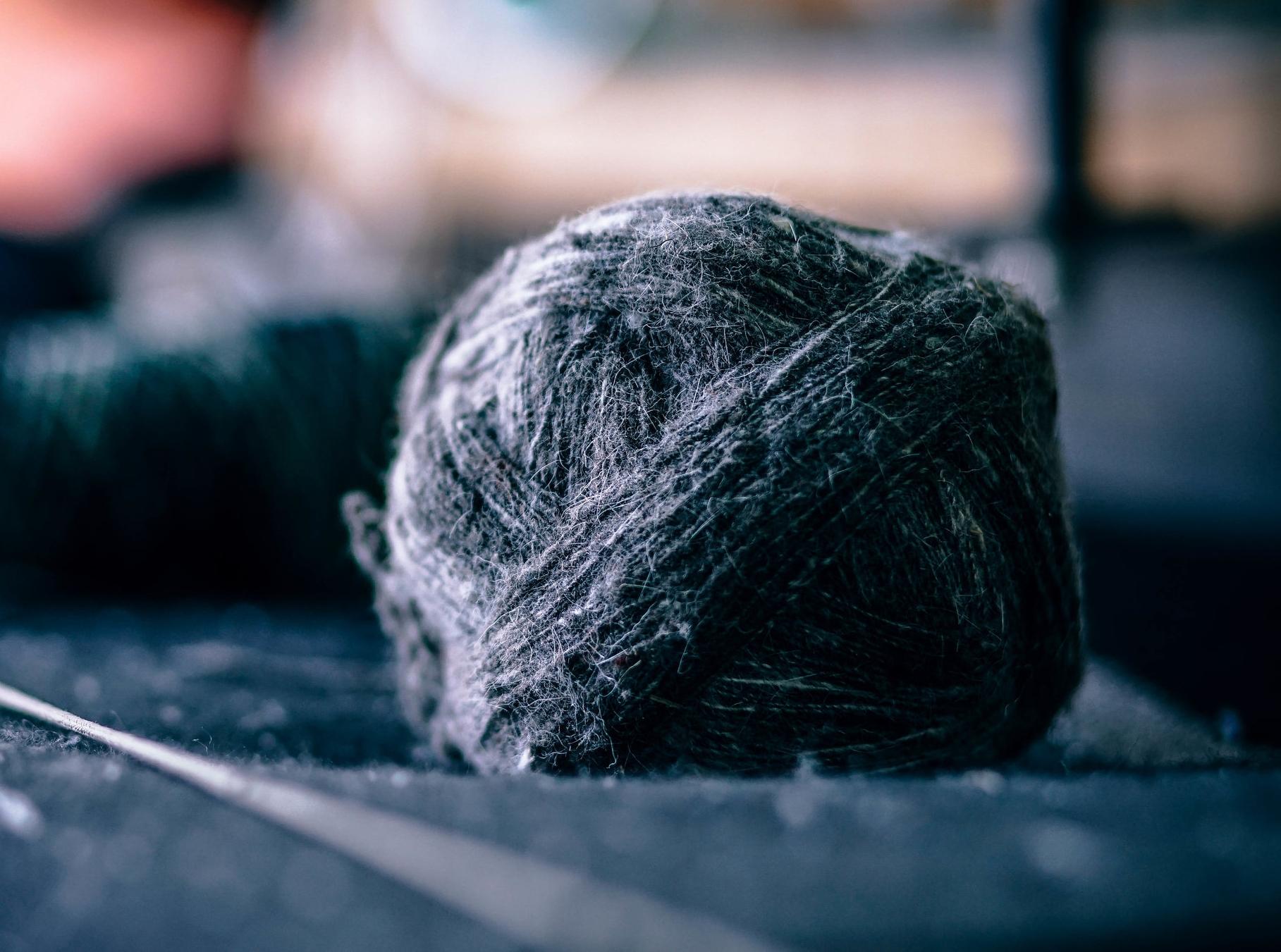 Blue yarn for knitting