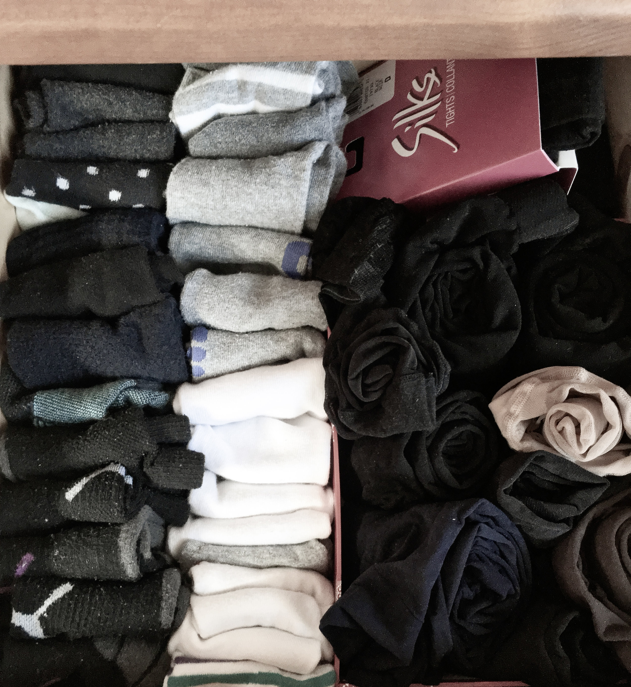I folded my underwear and socks - the right side of fifty