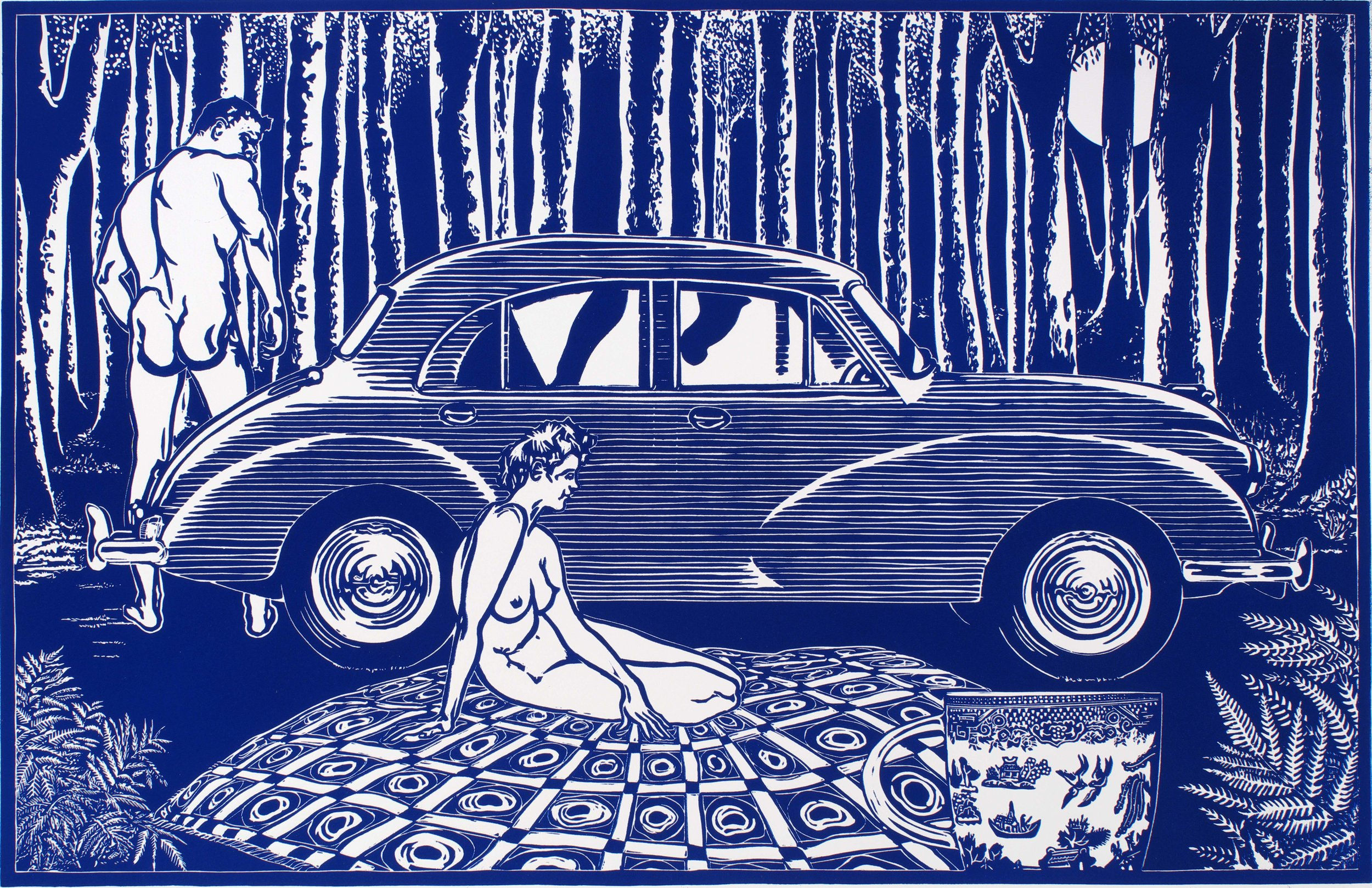 Ross Woodrow   Origin of Modernism   lino print on rag paper, 690 x 1060 mm. Edition of 5.  This large lino print interlocks the private and public using generic, banal sources. Both figures are directly taken from drawing manuals and the Morris Minor is based on the original 1948 advertisement for the car. The cup is the familiar Willow Pattern. Although the print was made in 2010 it evokes Australia's first modern press sensation involving adulterous sex and death on the banks of the Lane Cove River in Sydney, namely the Bogle-Chandler case. In 1968/69 when I was at art college experimenting with abstract painting we used to make trips around Brisbane in a beaten up Morris Minor belonging to an anonymous co-student (Keith Bradbury).