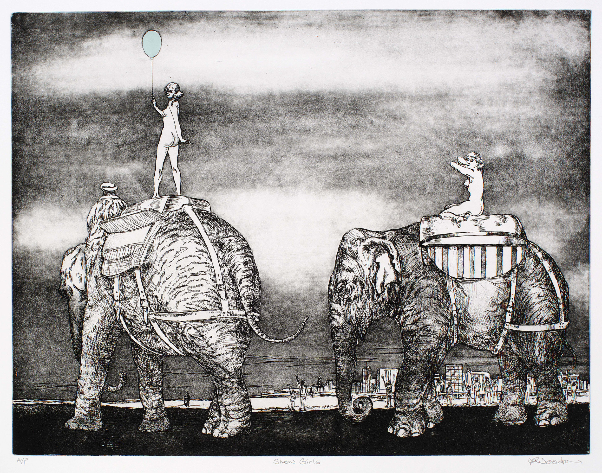 """Show Girls   etching, aquatint and chine collé (copper plate) 490 x 640 mm. Artist's Proof.  The elephants are sources from a German manual on drawing animals and the """"girls"""" from figure drawing manuals. The blankets carry the names of the elephants """"GOMA and QAG which are the cultural icons across the river from Brisbane city, in the background, with the crowd naturally excited to see the show girls. When I produced this etching it was soon after the Gallery of Modern Art in Brisbane had opened and many were disappointed to find that it was the same crowd-pleasing fare that was being served up. In the eight or so years since making this print nothing much has changed with GOMA, like so many public galleries, finding that when the imperative is to get punters through the door, it is very difficult to avoid the model of the circus or funfair. To ask the question """"does that matter"""" is to highlight the problem."""