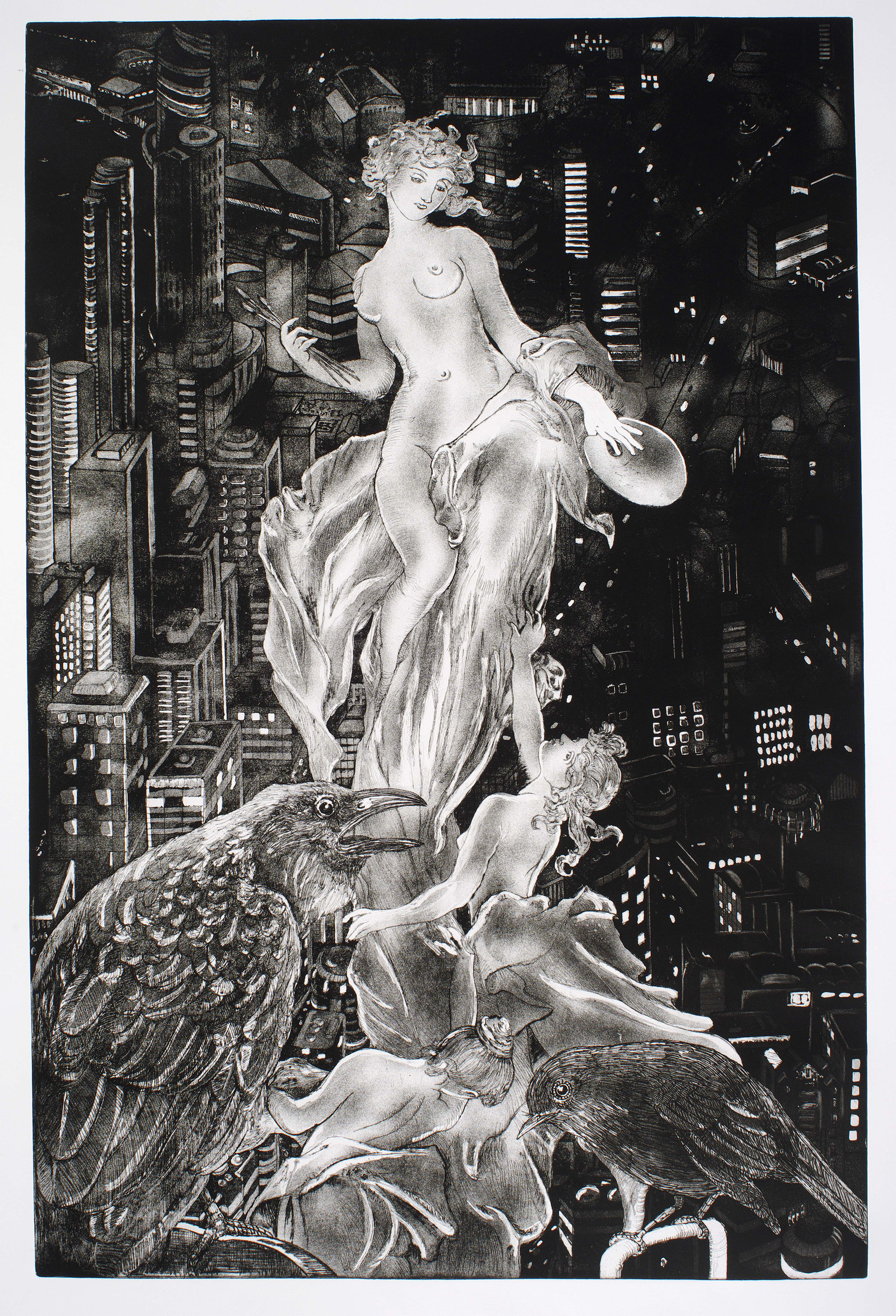 """Art that Never Sleeps   etching and aquatint (copper plate) 895 x 590 mm Artist's Proof. Edition of 8.  This large copper plate is contemporary with Show Girls and again is a visual speculation on the contemporary role of art by showing an imaginary classical sculpture representing """"art"""" atop a building in an imaginary city, modeled on Brisbane."""