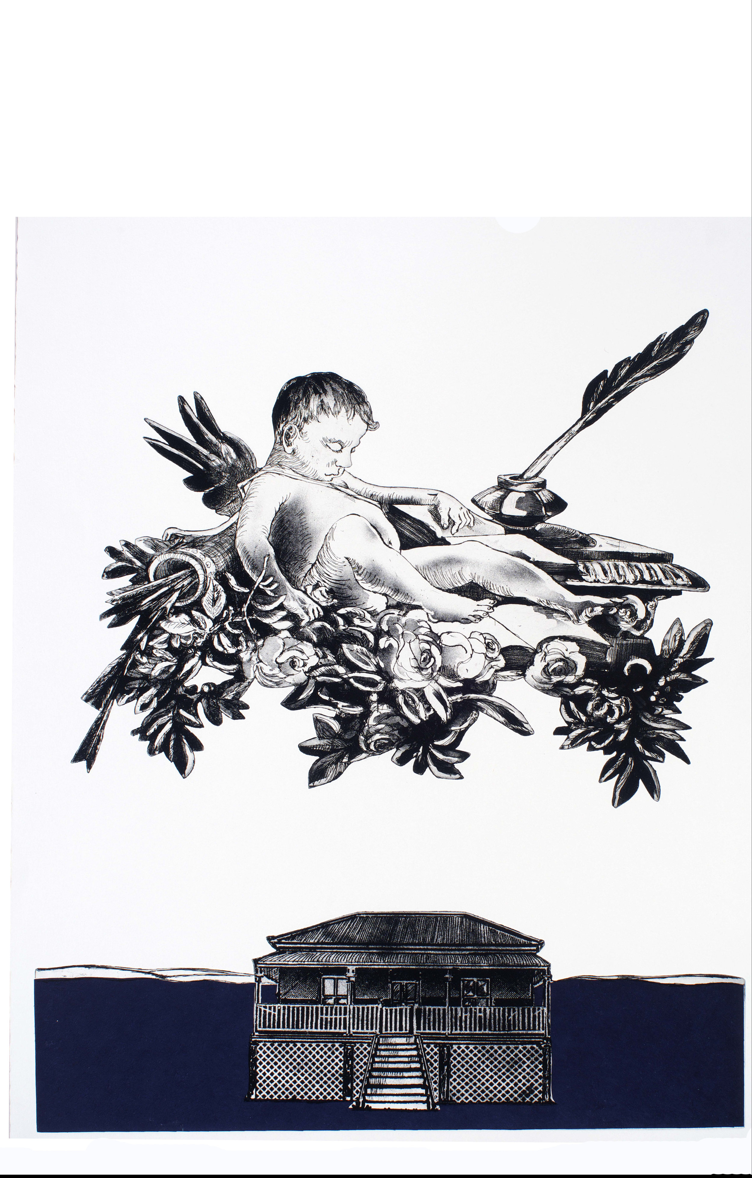 Cupid Over Queenslander I   etching, aquatint and chine collé (shaped plates, upper copper and lower zinc) on rag paper. 630 x 490 mm. Artist's Proof, one of two proofs, not editioned