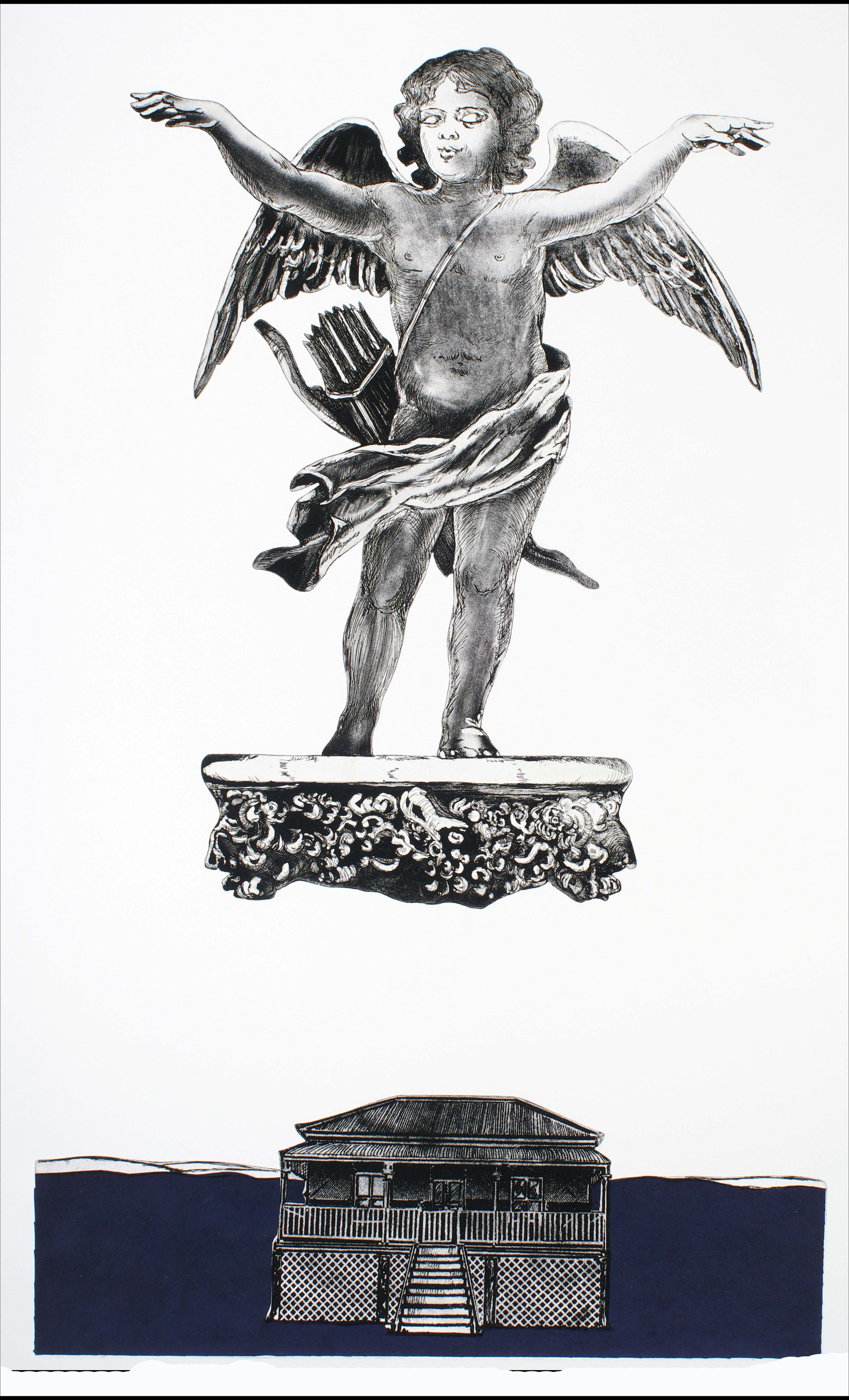 Cupid Over Queenslander II   etching, aquatint and chine collé (shaped plates) on rag paper. 840 x 490 mm. Artist's Proof, one of two proofs, not editioned.