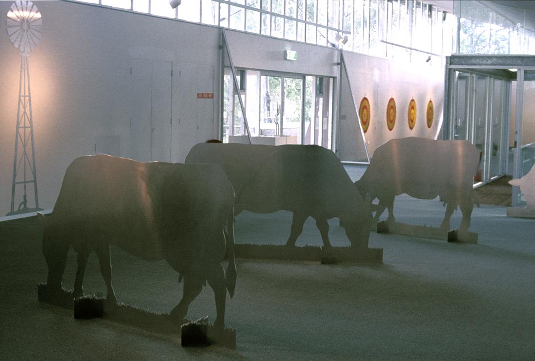 Installion view .   Bush Burial   shaped aluminium , oil paint