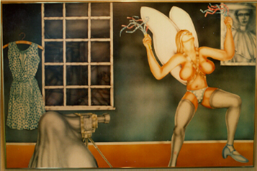 Studio Angel   enamel on marine wood c. 120 x 165 cm (sold in 1981 current whereabouts unknown)