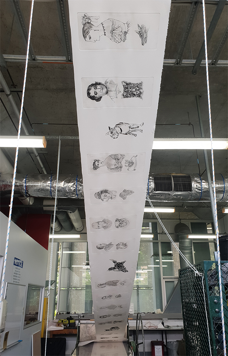 The printing of an eight-metre roll in progress