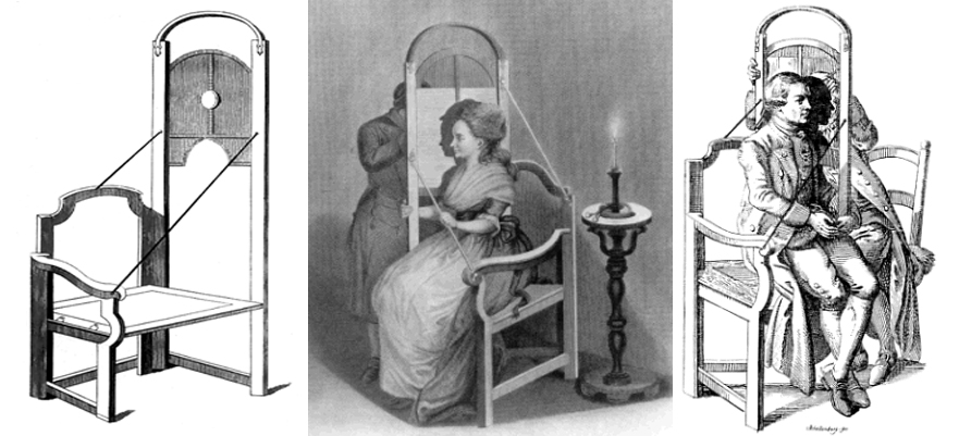 Figure 5 Lavater, A Chair for Taking Shades. Left is the empty chair from the popular Holcroft edition wrongly suggesting a lens where there should be a sheet of glass to trace the silhouette. The centre image is from the first edition and the last from a Dutch translation.