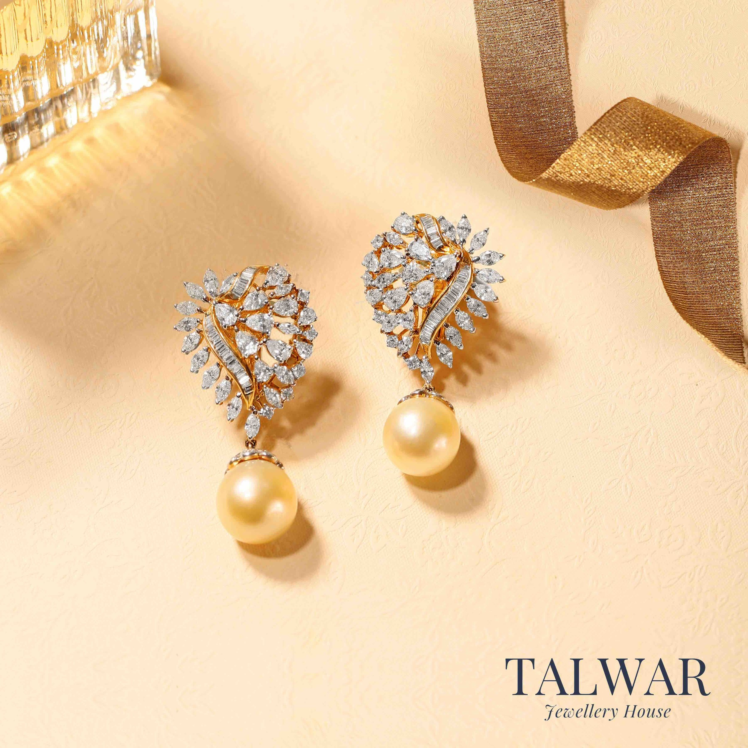 Marquise and Pearl Earrings