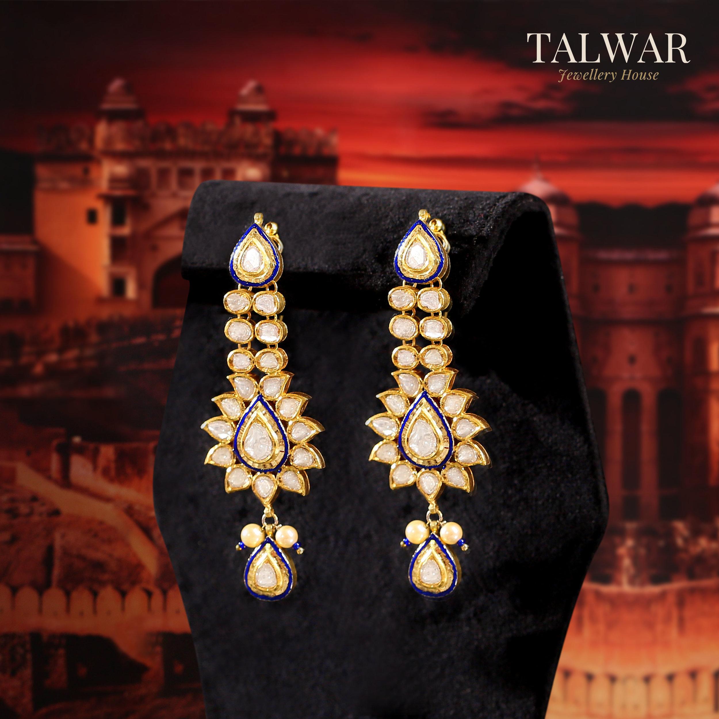 Polki Earrings by Talwar Jewellery House.