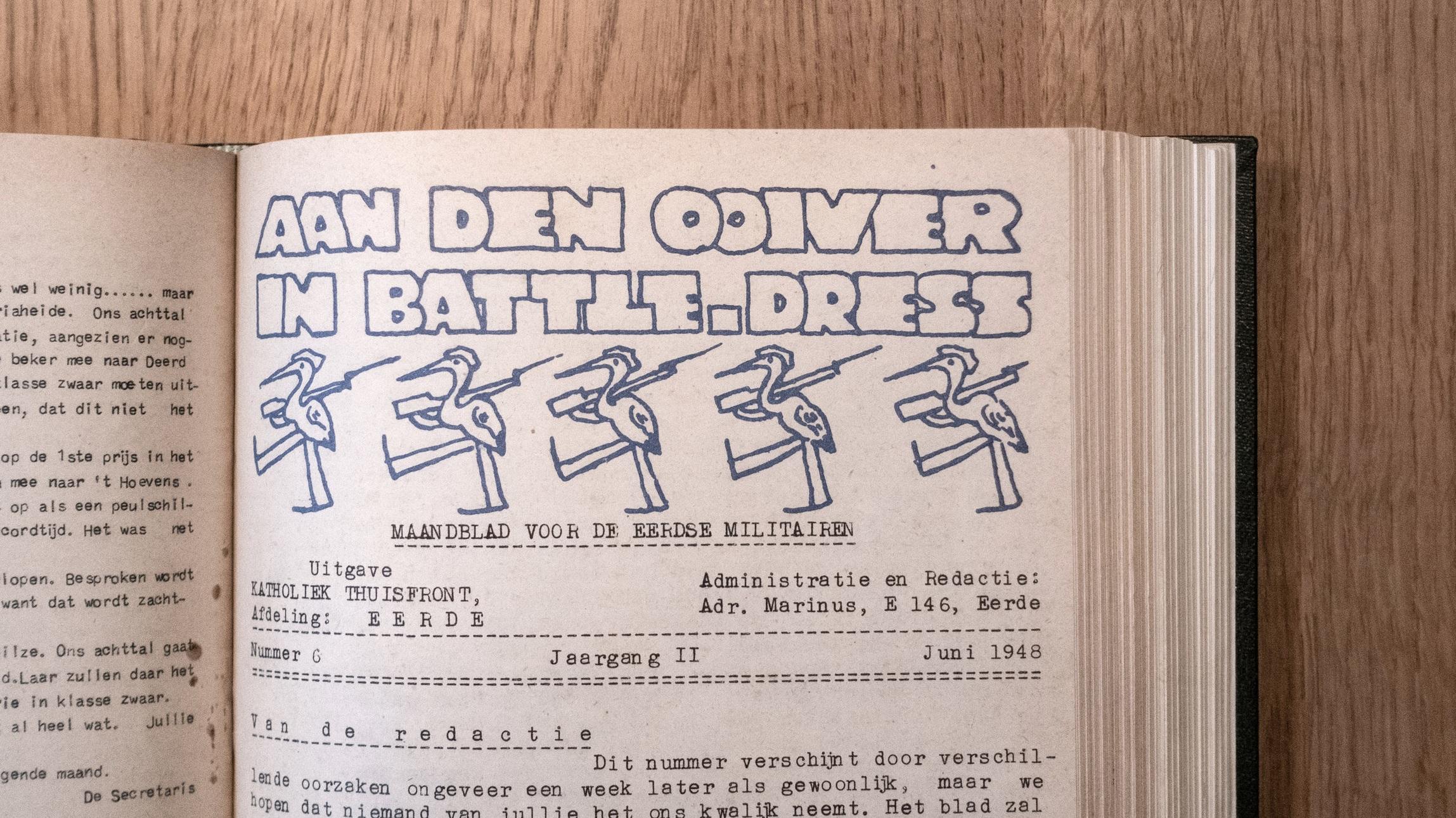 Een bladzijde uit de editie van 'Aan den ooiver in Battle-dress' uit juni 1948