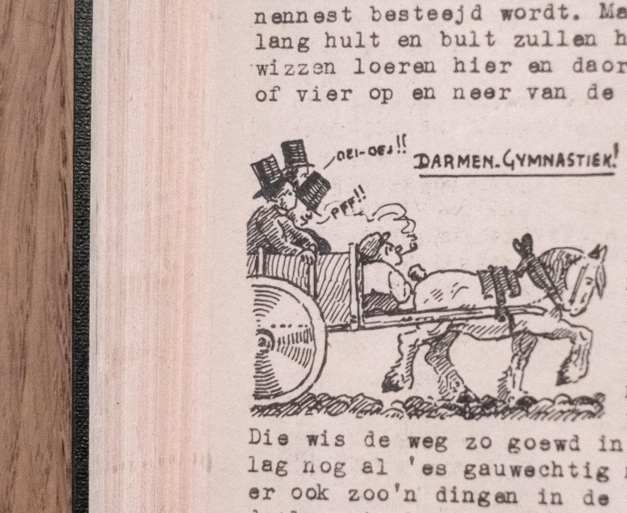 Illustratie bij het stukje proza dat Bernard onder het pseudoniem Bram Brom schreef. De tekst hieronder verwijst naar het tekeningetje op deze pagina.
