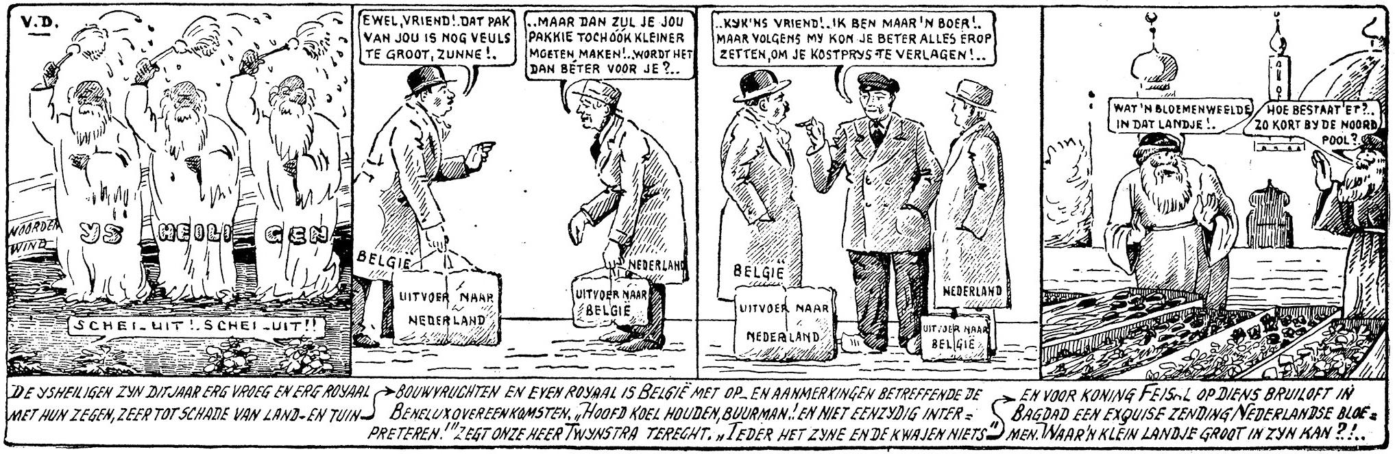 Een van de vele cartoons over de landbouwpolitiek die Bernard van Dam maakte.