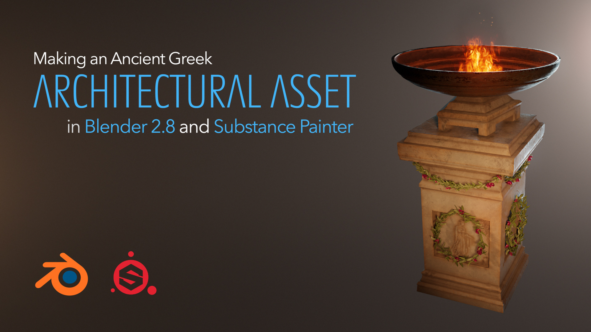 In this series you will learn how to model an architectural asset, sculpt engravings, UV the asset, add fire and render it. We will be also texturing it in the Substance Painter.