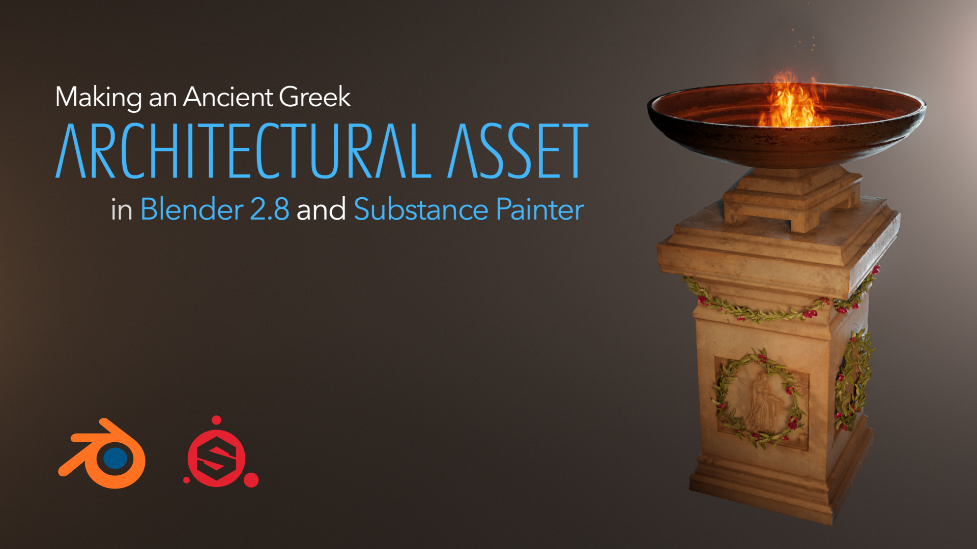 In this free beginner series you will learn how to model an architectural asset, sculpt engravings, UV the asset, add fire and render it. We will be also texturing it in the Substance Painter.