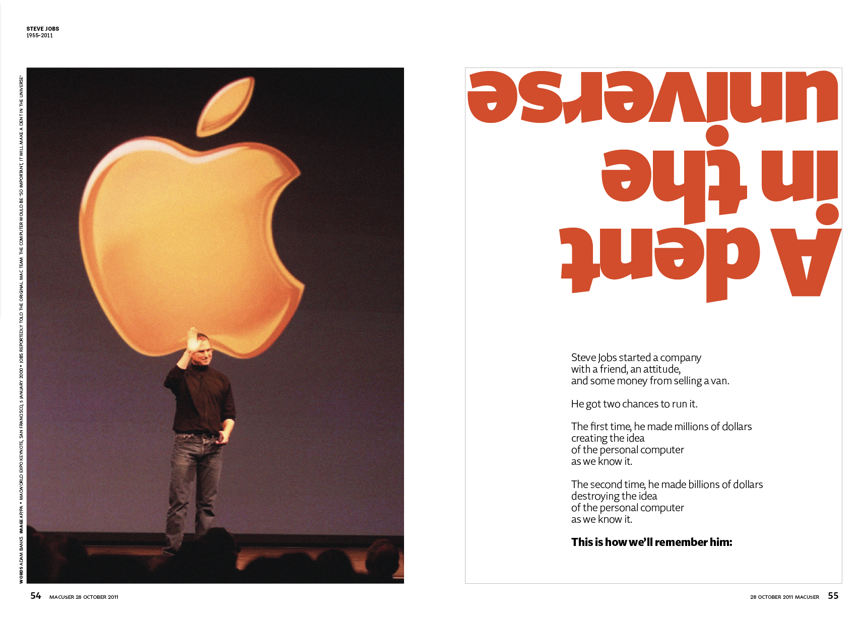 Opening spread of Steve Jobs obituary, October 2011. Copywriting and layout: Adam Banks. Photo: Associated Press