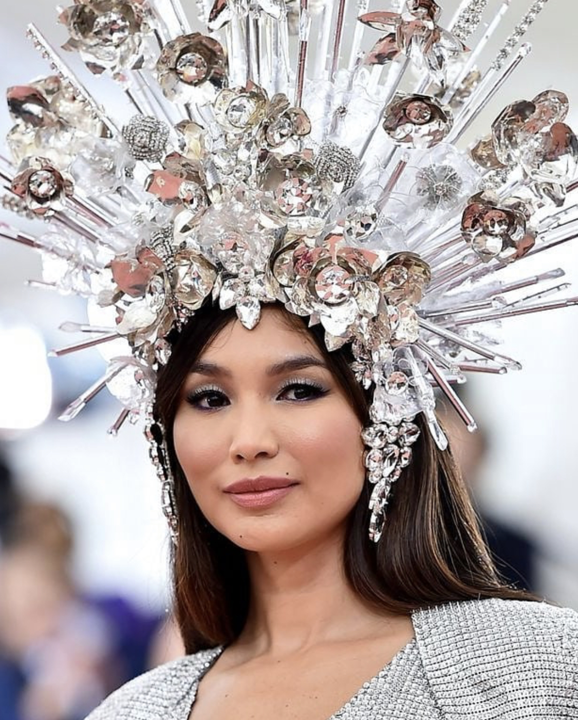 GEMMA CHAN- A SILVER SIREN WITH THIS ELIZABETH TAYLOR MEETS CHER INSPIRED LOOK