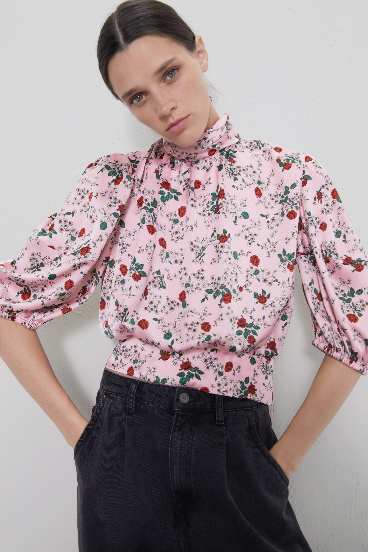 zara blouse floral