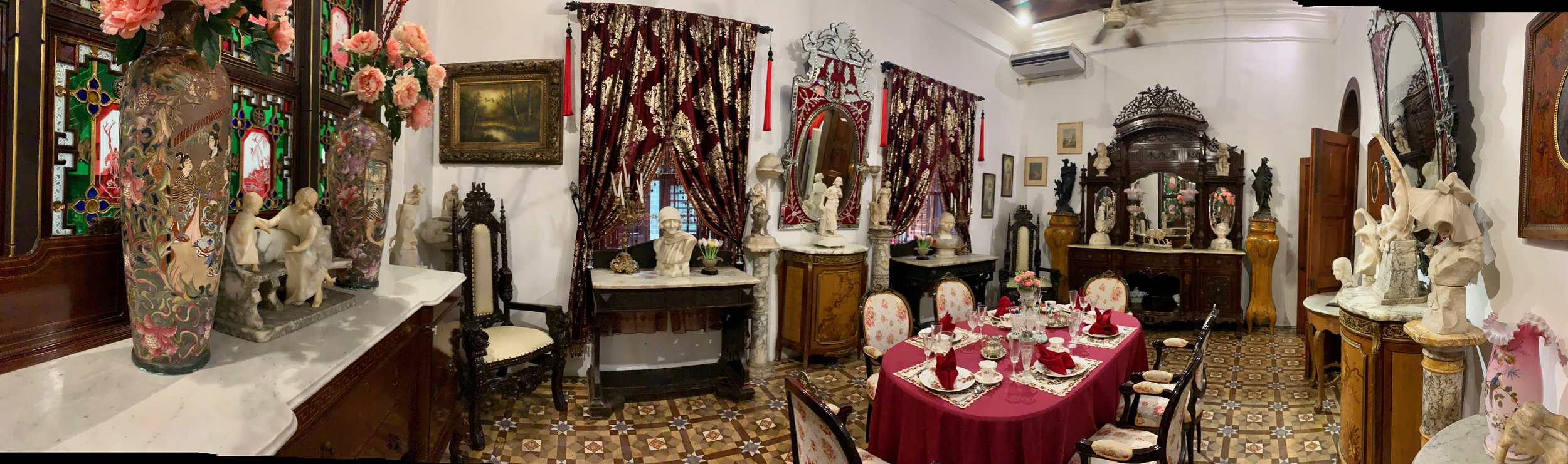This is another dinning room that is to the right of the one in the first photo. This was used to entertain European visitors in a traditional  British  manner.