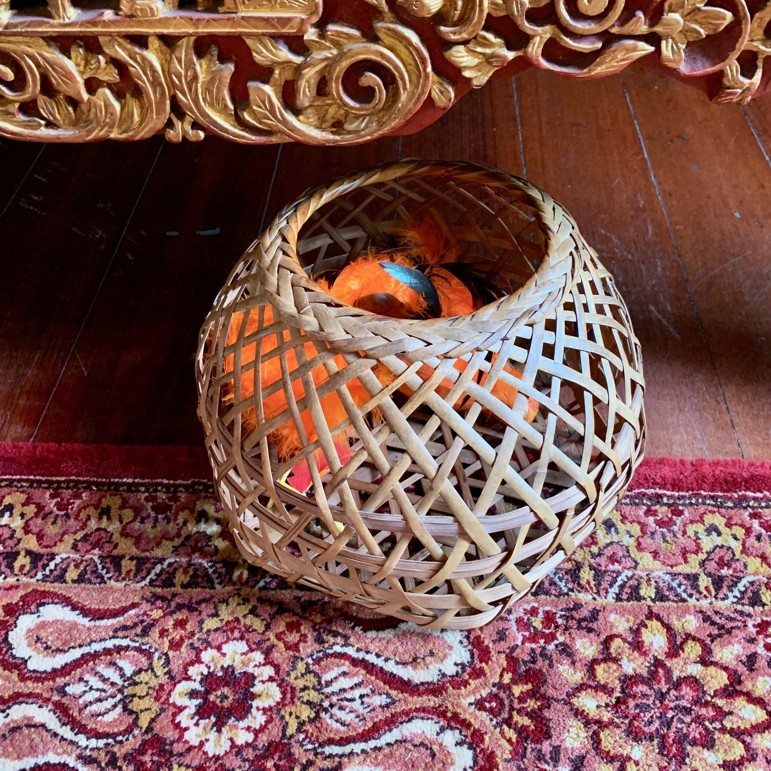 On the wedding night, this basket would be placed beneath the bed with two chickens of different sizes in it. In the morning, the mothers would open the basket and if the large chicken popped out first, the baby would be a boy, the smaller chicken, a girl.