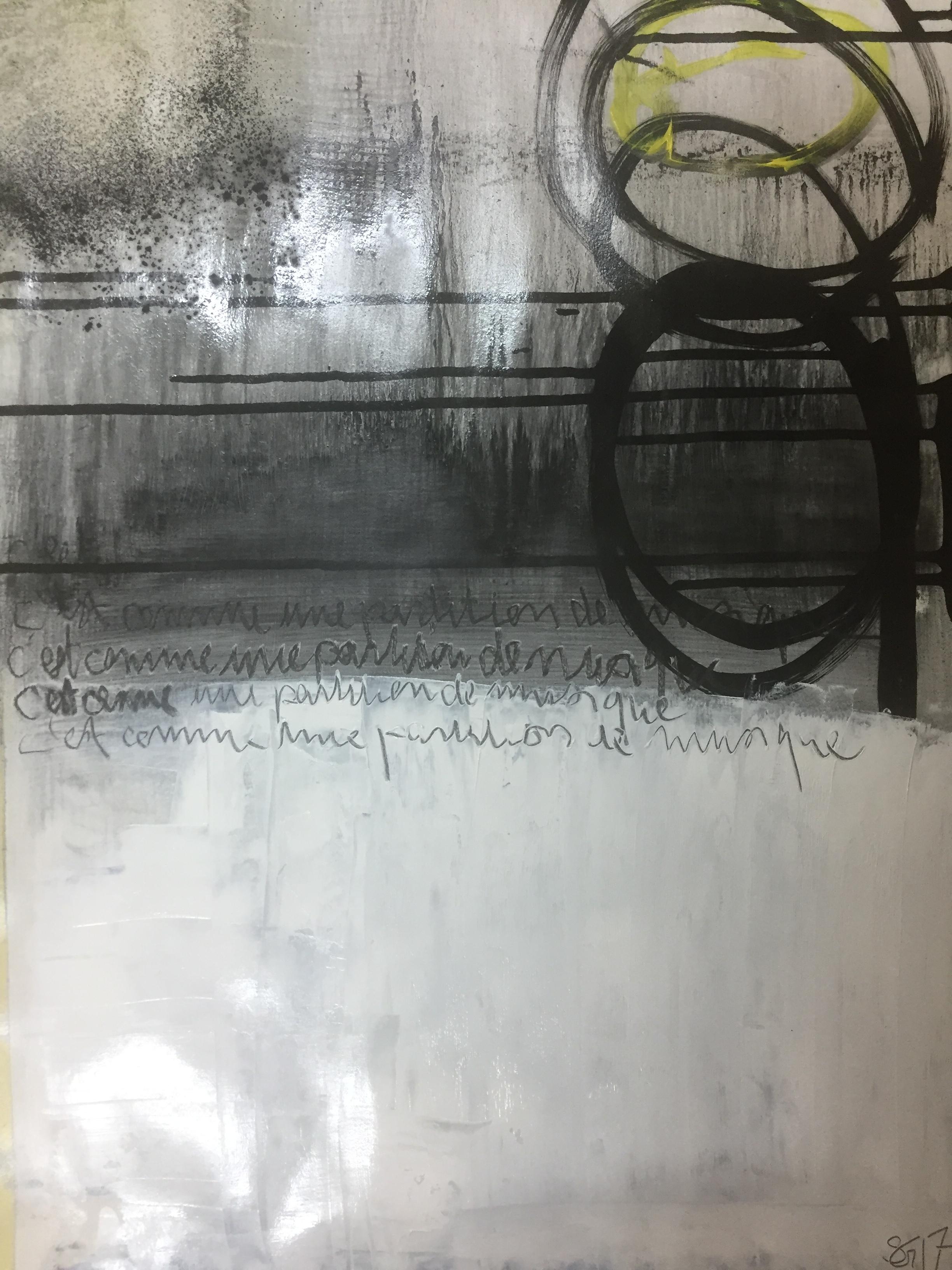 Huile et encre sur papier - 70X40