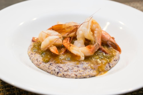 Shrimp and grits with Bloody Butcher heirloom corn grits.