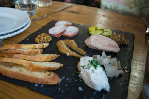 Simple charcuterie plate from Metzger.