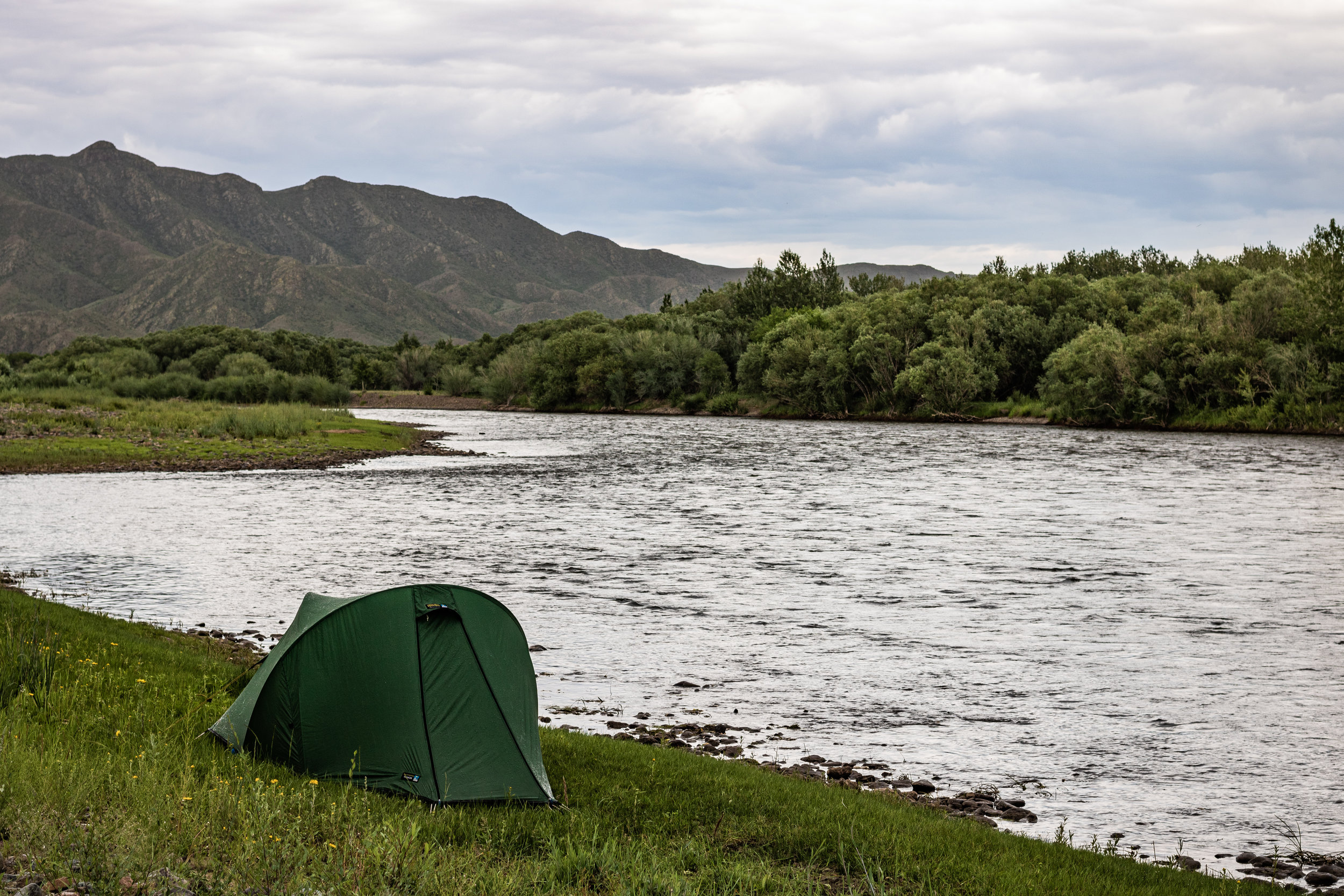 The Voyager pitched on the banks of the Chuluut river in Outer Mongolia, while on expedition.