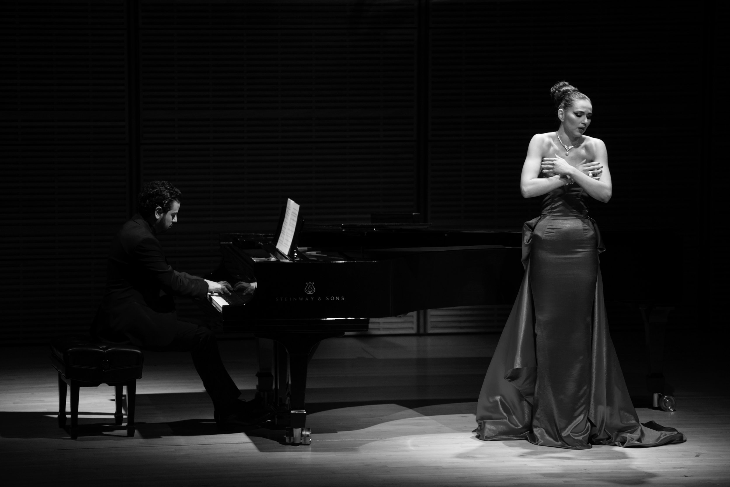 Radmila Lolly closed the concert singing  Gesegnete Dunkelheit  with composer De La Chica on piano Photo by Eugene Manning