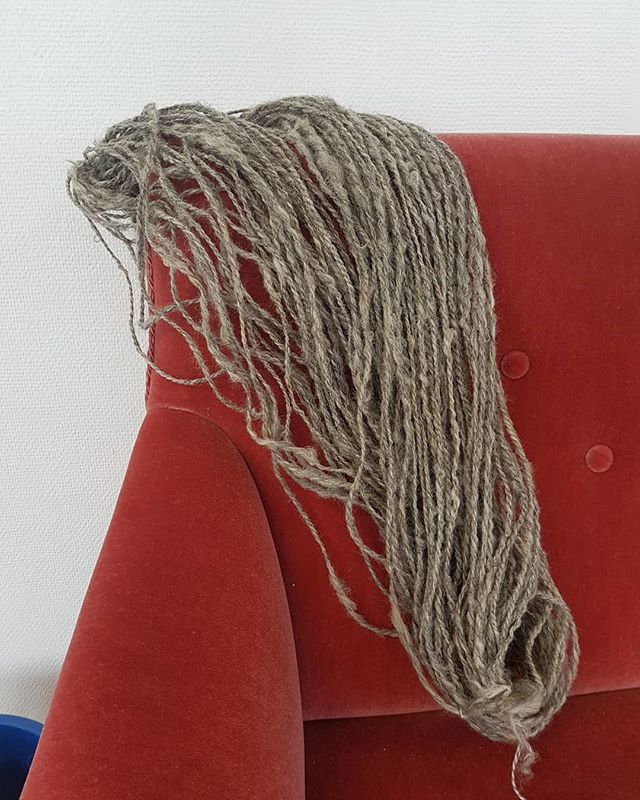 First batch of spun and plyed yarn done 💪🐑 . . . . . #textiledesign #fiberart #spinning #wool #handmade #textiles #yarn