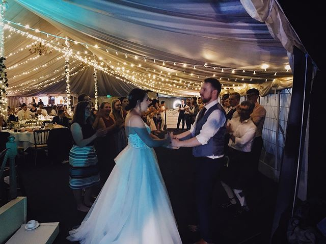 Mark & Beth tied the knot on Saturday and ceilidhed with @jiggeredceilidhband in the HUGE Enterkine House Hotel marquee! Thanks for having us, guys- we had a blast!