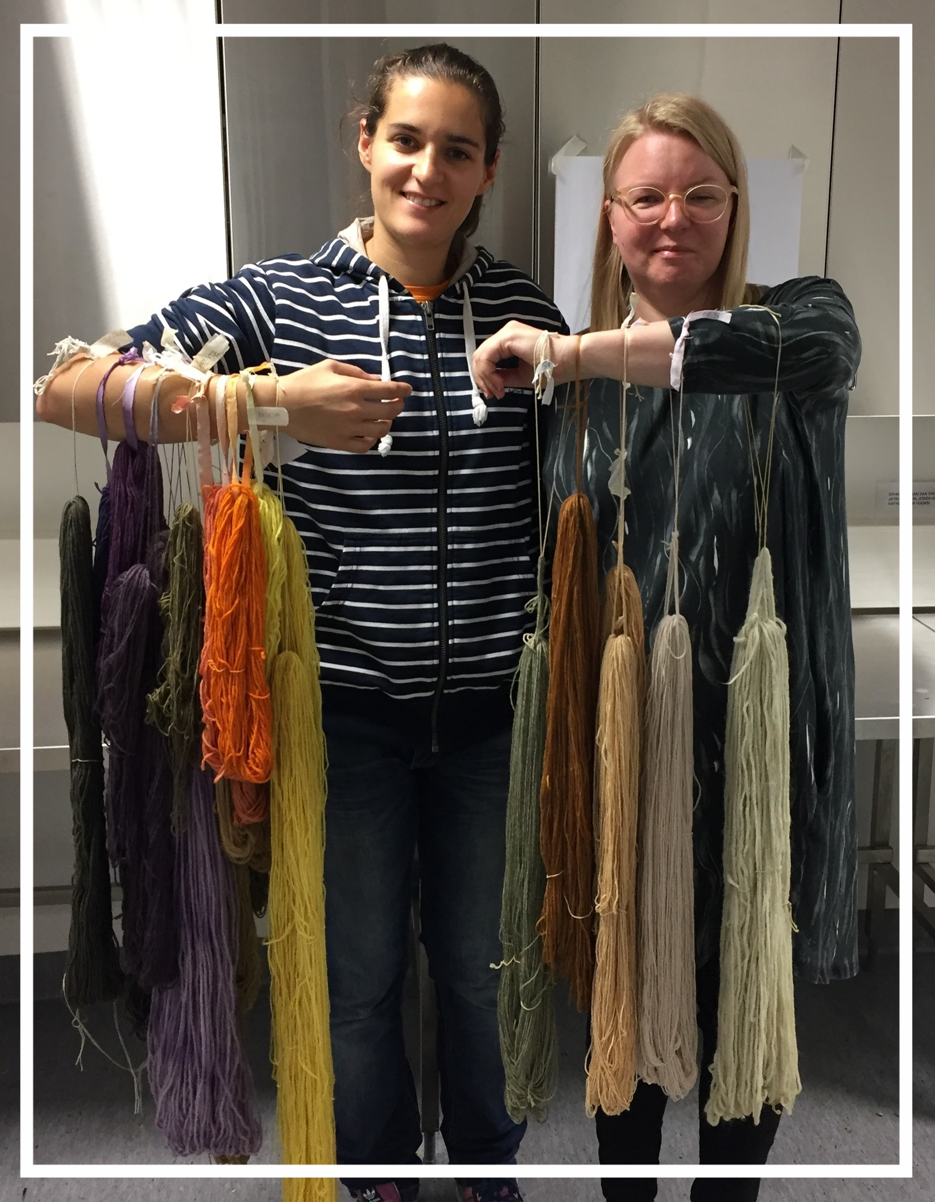 Zoe and Merja during a natural dyeing course in Espoo, Finland.