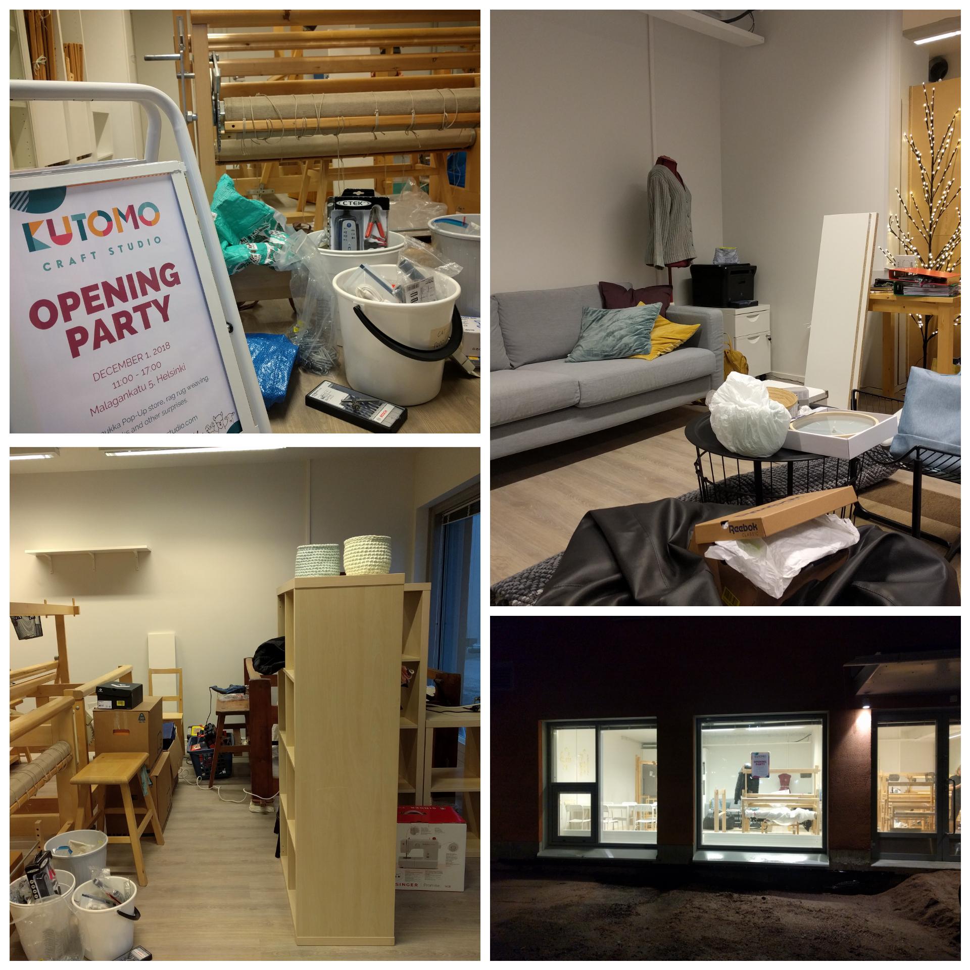 Chaos at Kutomo Craft Studio as we prepare for the opening party / Kutomon kaaosta avajaisvalmistelujen tiimellyksessä