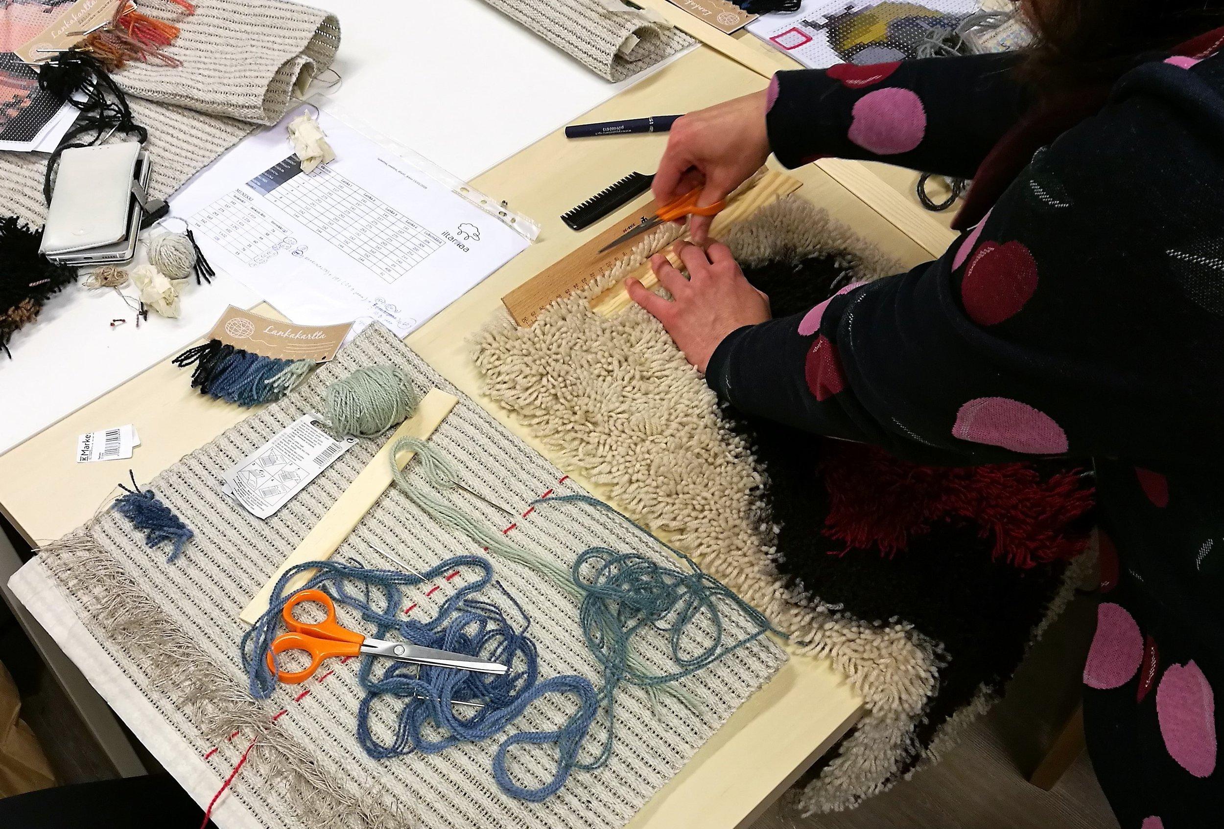 Rya rugs in the making