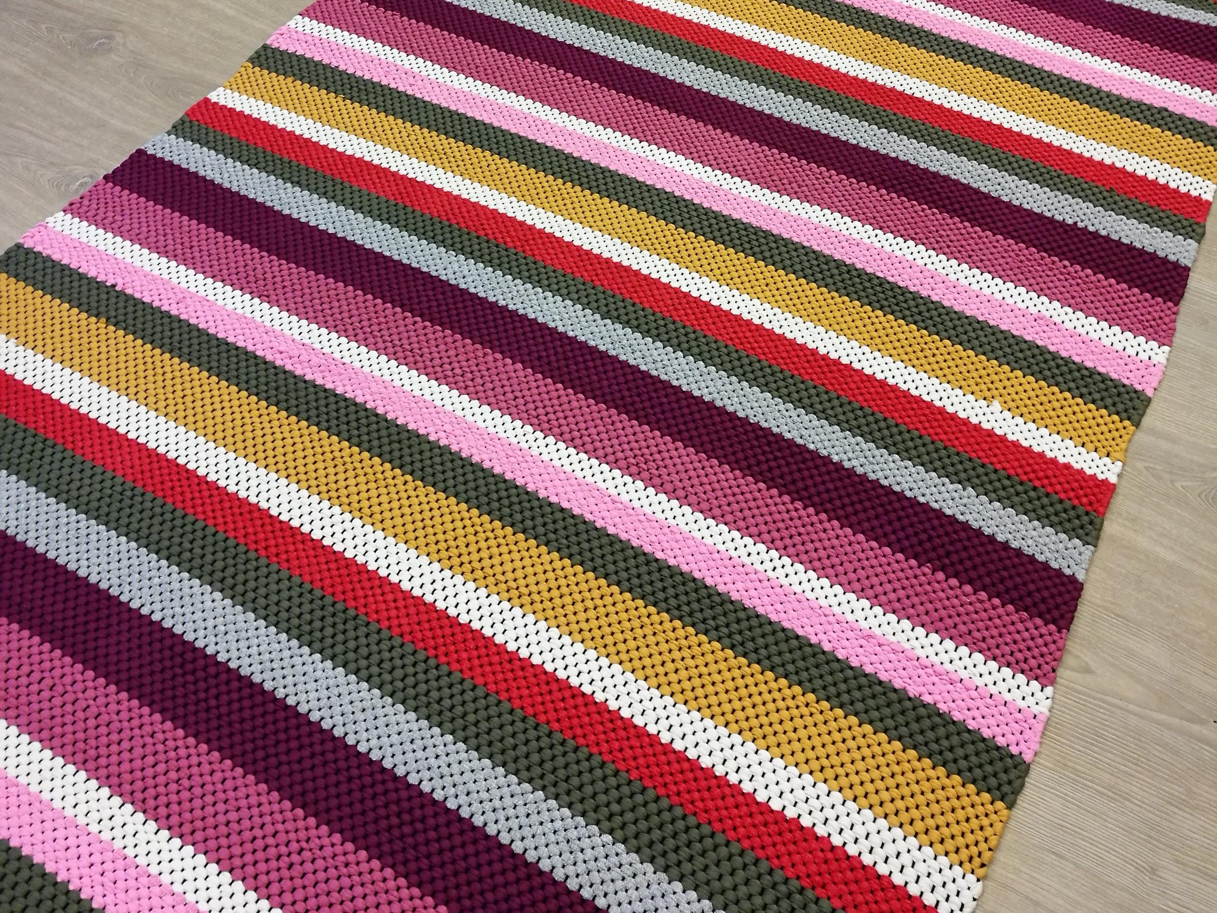 Stripy rag rug