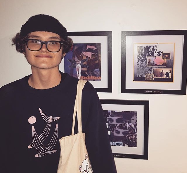 Jett Little next to his work, at Color Theory Club II