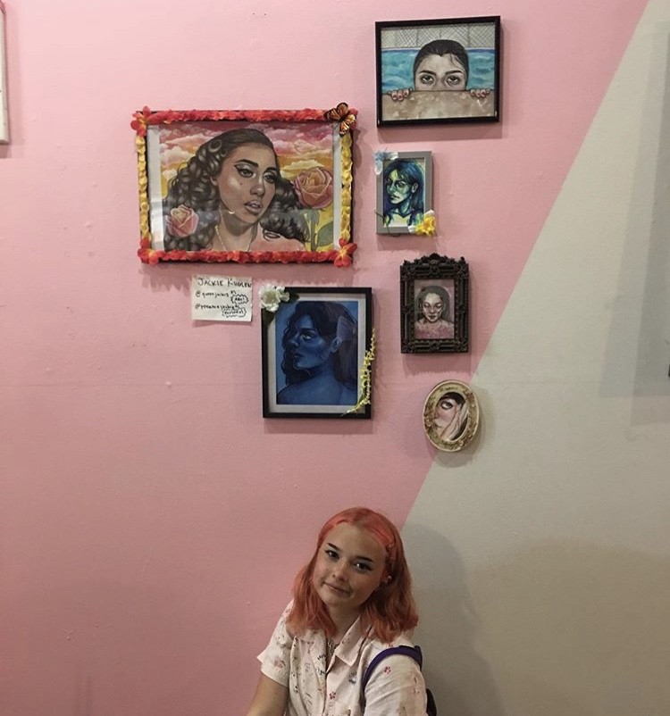 Jackie Kuglen (@ppeachiejackie) with her work at Color Theory Club III