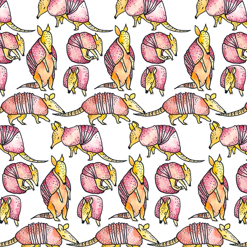 Bright Watercolor and Pen drawing of Armadillos | Earthtones Travel + Design Blog | Roo Bea Design Co