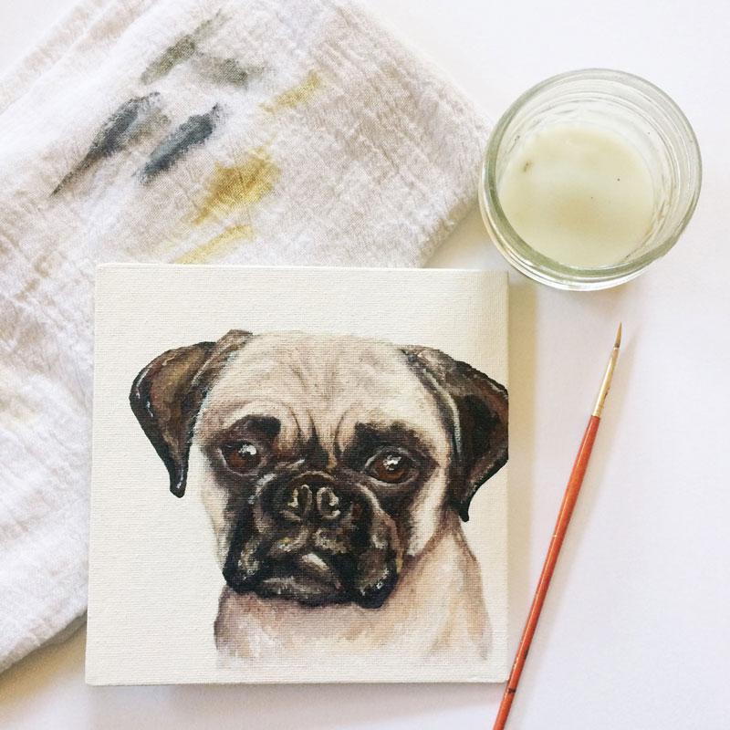 Pug Painting | Earthtones Travel + Design Blog | Roo Bea Design Co