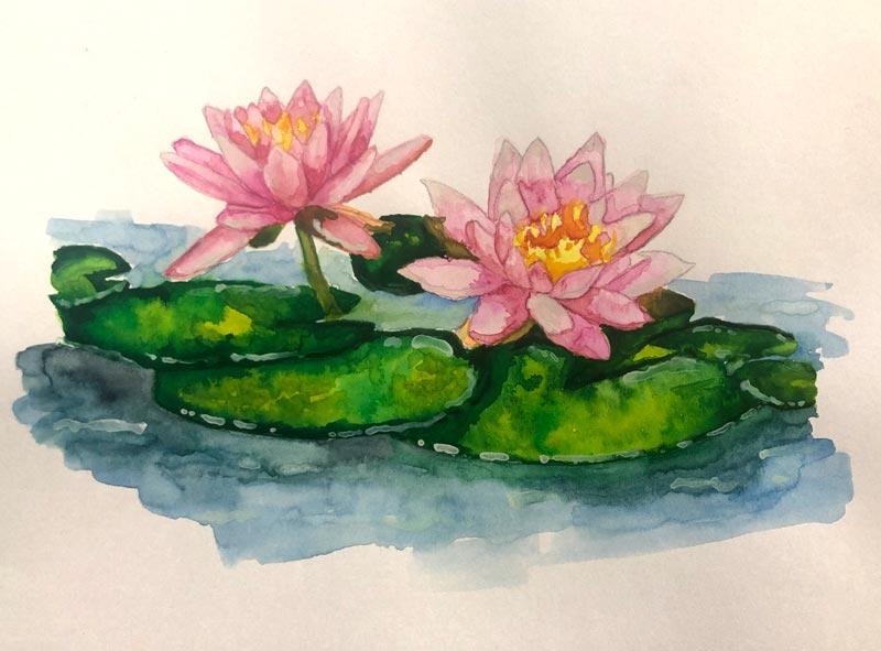 Waterlily Watercolor | Earthtones Travel + Design Blog | Roo Bea Design Co