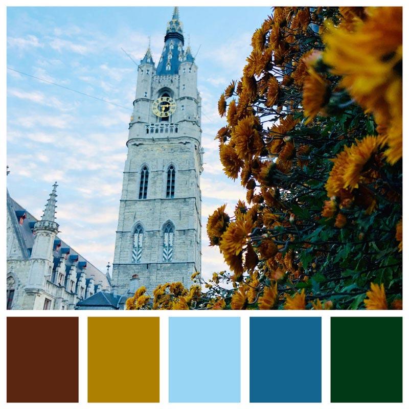 Color Palette: Cool, Fall, Bold, Gold, Earthy, Autumn, Natural | Ghent, Belgium | Earthtones Travel + Design Blog | Roo Bea Design Co