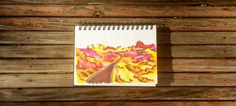Illustration inspired by the Valley of Fire State Park in Nevada | Earthtones Travel + Design Blog | Roo Bea Design Co