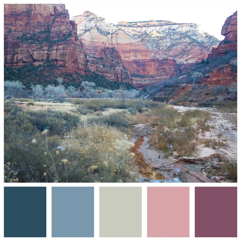 Color Palette: Cold, Feminine, Winter, Mauve, Cool, Icy, Soft, Warm, Berry | The Best Winter Hikes - Zion National Park | Earthtones Travel + Design Blog | Roo Bea Design Co.