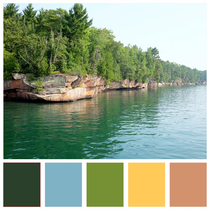 Color Palette: Summer, Natural, Bright, Beach, Lake, Youthful, Fun | A Day Trip to the Apostle Islands National Lakeshore | Earthtones Travel + Design Blog | Roo Bea Design Co.